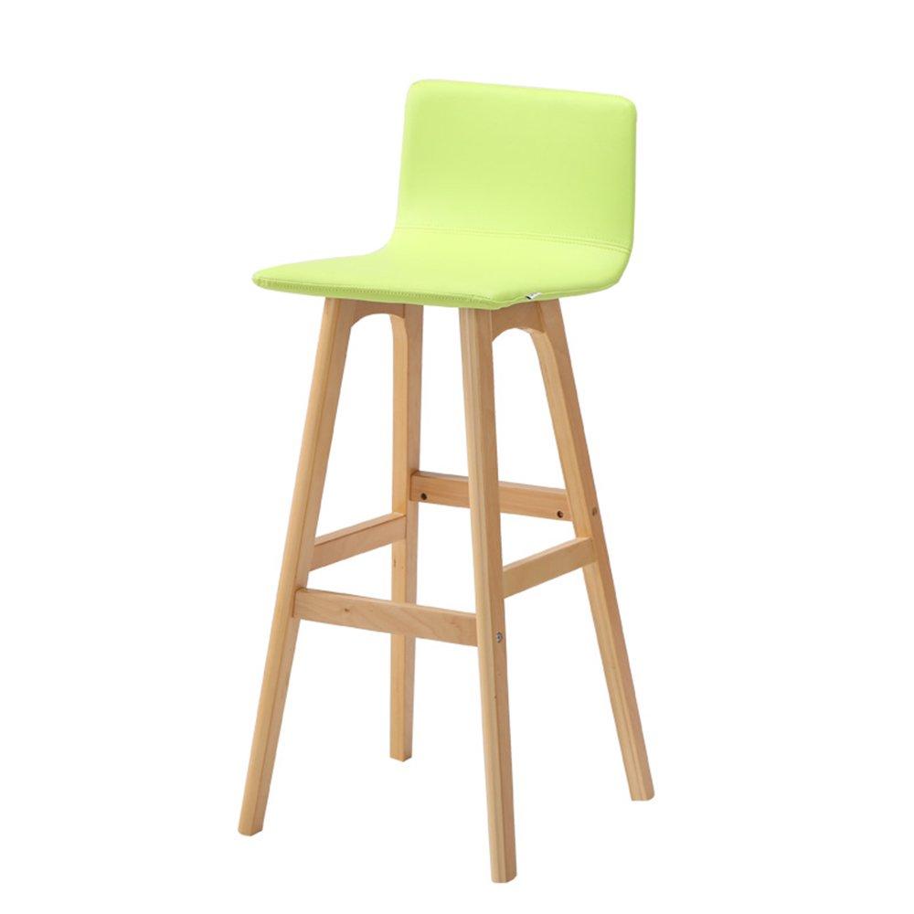 クリエイティブチェア、ヨーロピアンスタイルのバーチェア、シンプルなハイスツール、ソリッドウッドバーチェア、フロントデスクファッションバースツール ( 色 : 緑 ) B07BGZ5SRN 緑 緑