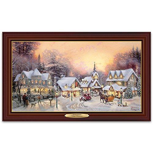 Thomas Kinkade Village Christmas Illuminated Canvas Print by The Bradford - Thomas Kinkade Illuminated Tree