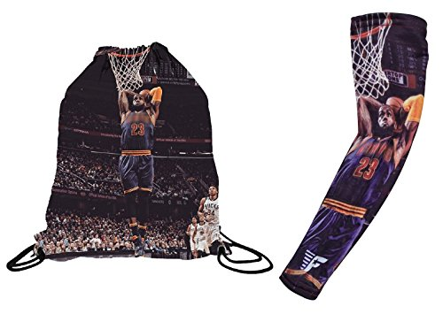 Forever Fanatics Cleveland James #23 Basketball Gift Set ✓ James #23 Picture Drawstring Backpack Gym Bag & Matching Picture Compression Shooter Arm Sleeve (Youth Size (6-13 Years), James #23 Gift (Lebron Vi Basketball)