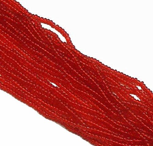 Light Ruby Red Transparent Czech 8/0 Glass Seed Beads 1 Full 12 Strand Hank Preciosa Jablonex