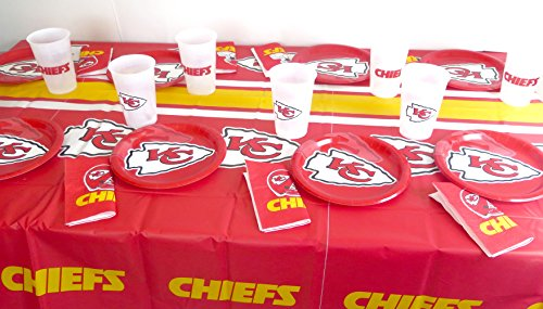 Kansa City Chiefs 49 piece playoffs super bowl Party set, Tablecloth,16 plate, 16 napkins and large plastic 16 cups.]()