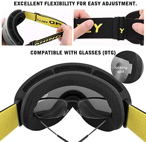 Rhino Valley Frameless OTG Ski Goggles Snowboard Anti-Fog 100/% UV Protection,