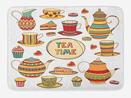 Weeosazg Tea Party Bath Mat, Tea Time Cartoon Set with Donuts Cake Slices Cupcakes Breakfast Get Together, Plush Bathroom Decor Mat with Non Slip Backing, 31.5 X 19.7 Inches, Multicolor -