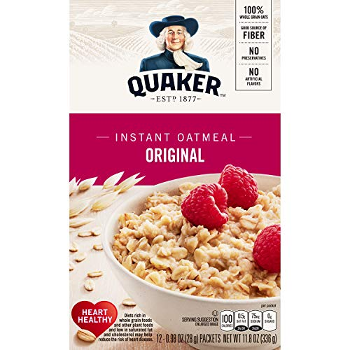 Quaker Instant Oatmeal Regular, 1 box (12- .98 oz packets), net weight 11.8 - Oatmeal Original