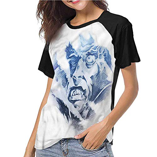 Women's Short Sleeve,Vampire,Fractal Scary Evil Face S-XXL(This is for Size Small),Casual Shirts
