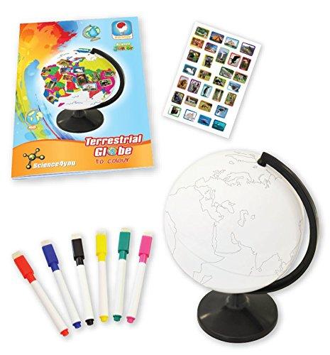 Science4you 9327 Globo Terrestre Para Pintar Con Libro Educativo Y Rotuladores
