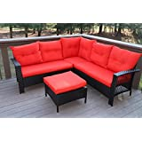 Oliver Smith   Large 4 Pc High Back Rattan Wiker Sectional Sofa Set Outdoor Patio  Furniture   Aluminum Frame With Ottoman   9514 Red