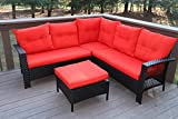 Oliver Smith - Large 4 Pc High Back Rattan Wiker Sectional Sofa Set Outdoor Patio Furniture - Aluminum Frame with Ottoman - 9514 Red