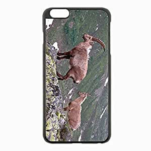 iPhone 6 Plus Black Hardshell Case 5.5inch - mountain cliff rocks antlers mountain goats Desin Images Protector Back Cover
