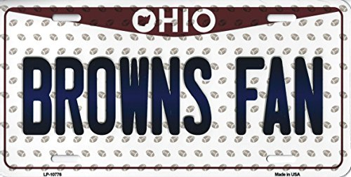 Browns Ohio State Background Novelty Metal License Plate Tag (Browns Fan)