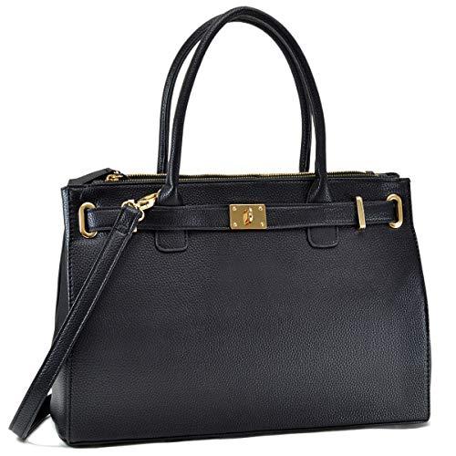 Women Fashion Purses and Handbags Large Tote Bag Shoulder Bag Top Handle Satchel Purse Hobo for Ladies (01 Pebbled Leather- Black)