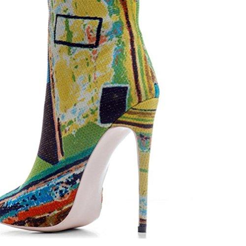 Frauen Mode Stiefel Größe Damen Reißverschluss Stiefel Floral Seitlichem Spitzen Farbabstimmung Ferse High Große Kurze Feine Stiefel Heels Rom QPYC dwqBPd