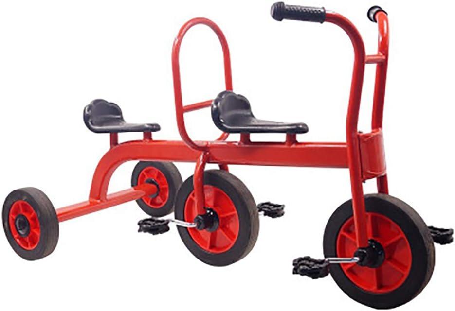 SHARESUN Kids Trike Triciclo de niños Asientos Dobles para Gemelos, bebé Infantil 3 Ruedas Cochecito Bicicleta Diseño Retro - Trike con Ruedas de Goma