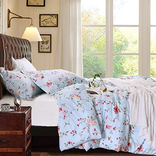 NTBAY 3 Pieces Duvet Cover Set Brushed Microfiber Floral Printed Pattern with Hidden Zipper, Queen, Light Blue ()