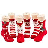 Hehe Graments Company Baby Boy Girl Toddler Socks - Red Christmas Socks For Kids Cute Infant Knee Novelty Socks 6pairs (Assorted bag packing, M fit 1-3Years)