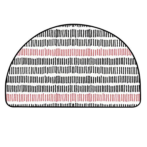 "TecBillion Abstract Half Round Door Mat,Hand Drawn Short Vertical Lines Retro Horizontal Stripes Hipster Doodle for Indoor Outdoor,27.5"" H x 55.1"" L"