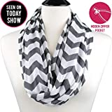 Black Friday Special - Womens Chevron Print Pattern Infinity Scarf Wrap with Zipper Pocket, Grey and White, Best Travel Infinity Scarves for Women, Girls, Ladies