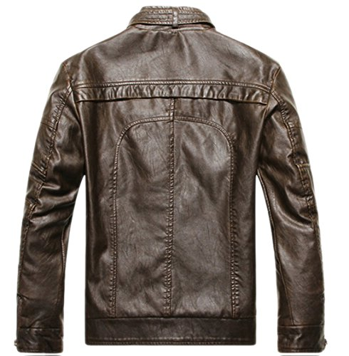 Chouyatou Men's Vintage Stand Collar Pu Leather Jacket - stylishcombatboots.com