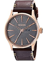 Nixon Men's A1052001 Sentry Leather Watch, Rose...