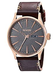 Nixon Men's A1052001 Sentry Leather Watch