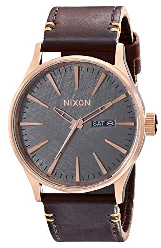 Nixon Men's A1052001 Sentry Leather Watch, Rose