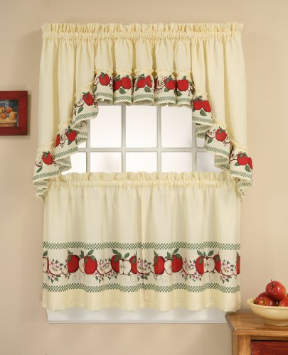Apple Kitchen Curtains - CHF & You Red Delicious Country Apples 3-Piece Window Curtain Tier Set, Ivory, 56-Inch X 24-Inch
