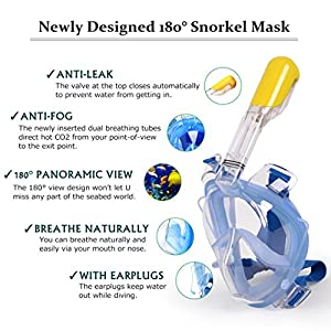 Snorkel Mask, 180° Full Face Snorkeling Mask 100% Panoramic-View, Anti-Fog, Anti-Leak, the Addition of 2 Breathing Tubes To Route the Airway Away From Your View (Blue, S/M)