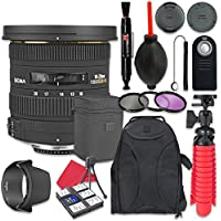 Sigma 10-20mm f/3.5 EX DC HSM Autofocus Zoom Lens For Nikon + Accessory Bundle