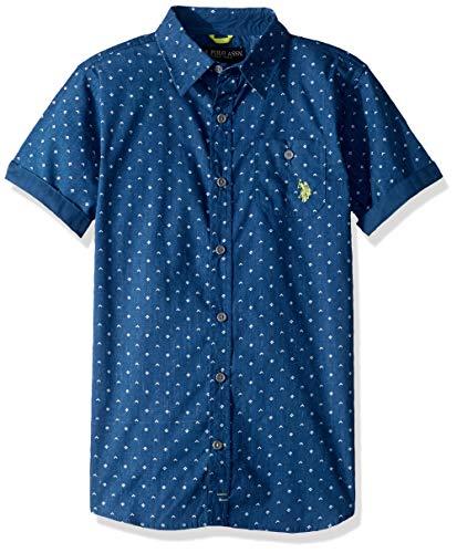 U.S. Polo Assn. Boys' Big Short Sleeve Reverse Printed Woven Shirt, Holland Blue, 14/16