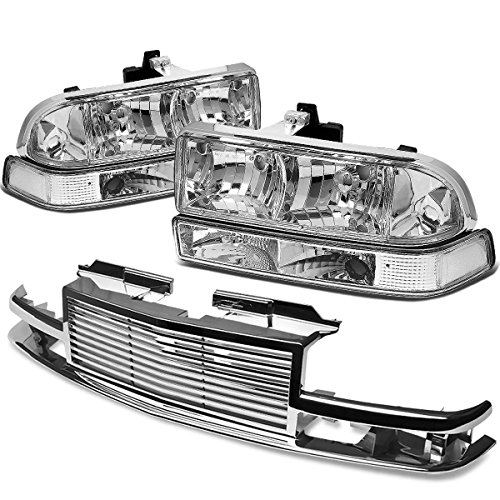 For Chevy S10/Blazer GMT 325/330 Headlight (Chrome Housing)+Front Grille (Chrome) ()