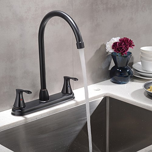 VCCUCINE Commercial Two Handle Oil Rubbed Bronze Widespread Kitchen Faucet, Stainless Steel Gooseneck High Arc Kitchen (Bronze Widespread Kitchen Faucet)