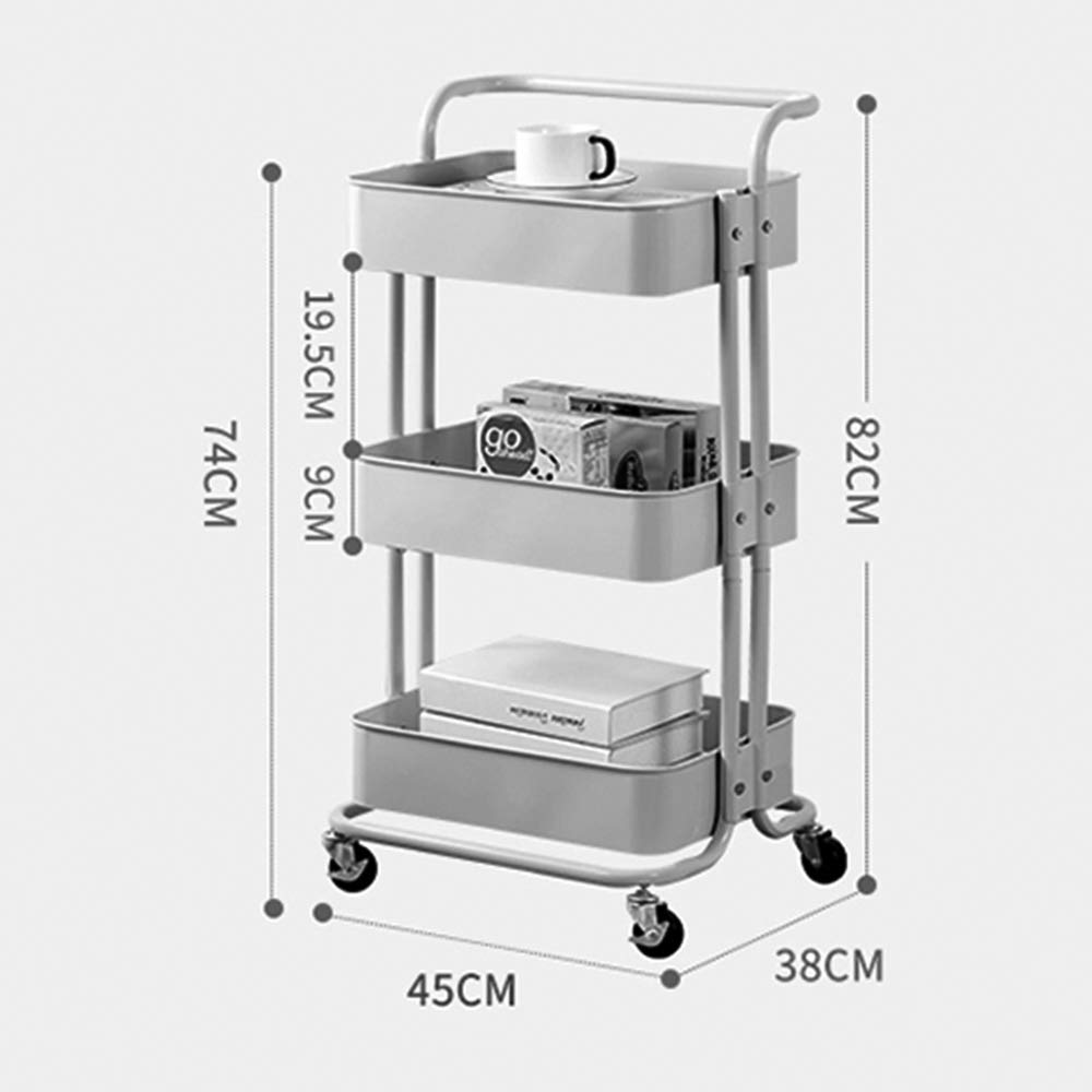 Kitchen shelf HUO 3-Layer Service Trolley Handle Metal Mesh Rolling Practical Organization Trolley Rack-3color-453882cm Multifunction (Color : Blue) by Kitchen shelf (Image #3)