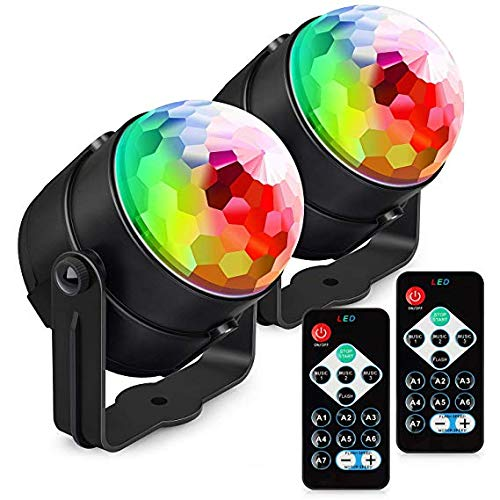 Hexu Party Disco Ball Lights,LED Strobe Lamp 7 Modes Stage Par Light, Sound Activated Remote Control Dj Lighting for Home Kids Birthday Decorations Karaoke Bar Club (2Pack) by HUXU