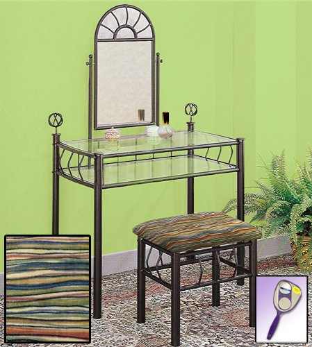 (New Black Metal Sunburst Make Up Vanity Table with Mirror, Glass Shelves & Your Choice of Themed Bench! (Southwestern Wavy Colors))