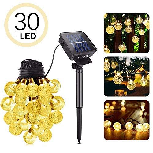 Glückluz Globo Solar Luces de Burbuja de Hadas LED Luz de Bola de Cristal 20 pies 30 LED Iluminación Decorativas para Árboles de Navidad Jardín Patio Bodas Terraza Fiestas 3 Tipos de Colores [Clase de eficiencia energética A+] (037-n)