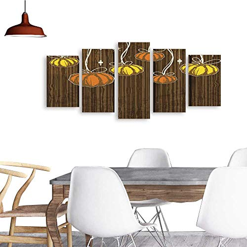UHOO 5 Piece Wall Art Painting PrintOrange and Yellow Pumpkins.odern Decoration Living Room -