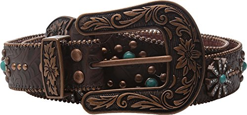 Nocona Women's Floral Embossed Spiral Rowel Concho Belt Copper - Concho Nocona
