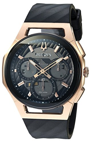 Men's Bulova Curv Chronograph Rose Gold-Tone Black Rubber Strap Watch 98A185 by Bulova