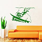 Sunset Beach Surfboard Surfer Girl Wall Decal Sport Decals Wall Vinyl Sticker Home Interior Wall Decor for Any Room Housewares Mural Design Graphic Bedroom Wall Decal Nursery Kids Baby Decor Children's Room Decals (5967)