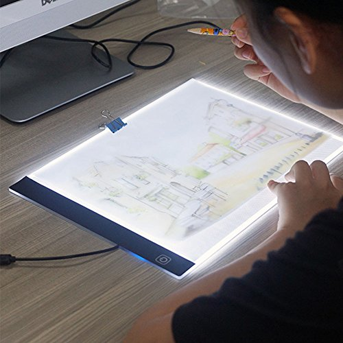 Lanlan A4 LED Light Tablet Pad USB Charging Copyboard Facsimile Board Light Table Gift A4 (dimmable) + 1.5m USB cable (without charging head) by Lanlan (Image #1)
