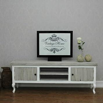 Tv Tisch Riviera Handgemacht Vintage Stil Möbel Weiß Kiefer