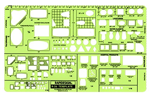 Rapidesign Plumbing Fixtures Plan Template, 1 Each (R26)