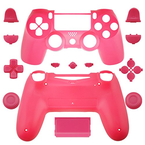 Pink Faceplate Cover - WPS Matte Controller Case Collection Full Housing Shell + Full buttons for PS4 Playstation 4 Dualshock 4 ( GEN 1 Controllers ONLY) (Pink)