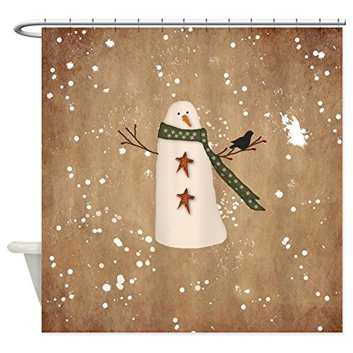 CafePress - Primitive Snowman - Decorative Fabric Shower Curtain