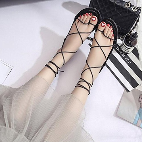 mujer Zapatos Sandalias cómodos Marrón playa GAOLIXIA claro Zapatos planas Black suave con Negro punta de Correas zapatos cruzadas de verano de de 5OwEHnqwF