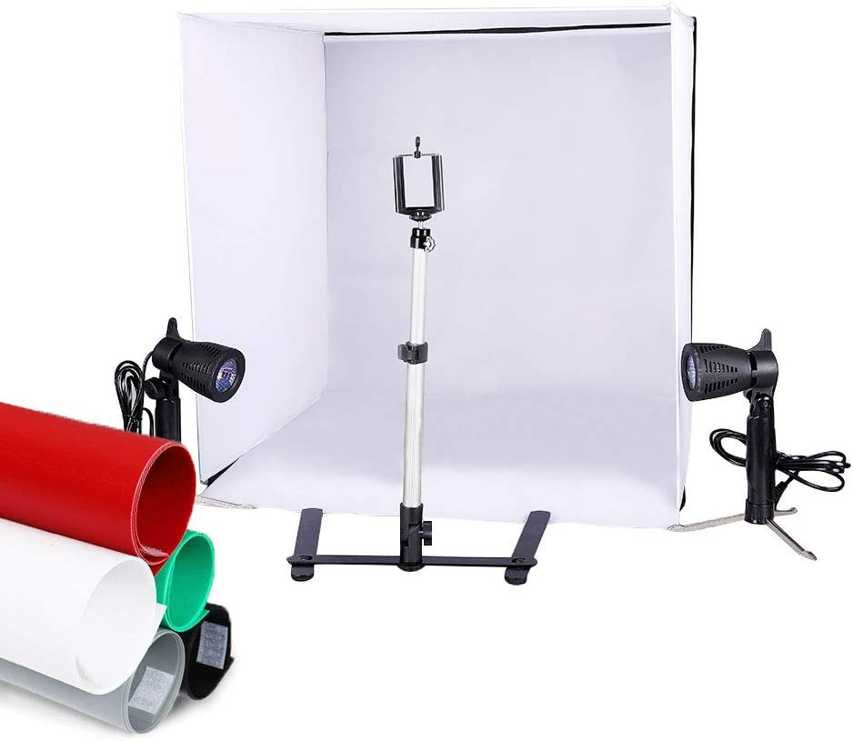 Kshioe Studio Light Tent Kit, Table Top Photography Lighting Box with Tripod Stand Phone Clip Holder and Backdrops (24in24in)