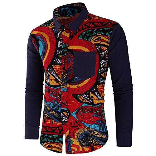 Longues Printemps Shirt Mode Marine Cadeau Haut Aimee7 Tee Vêtement Africain La Chemiser Pour Fantaisie Slim Style Homme Manches Hommes Imprimé Cher À Travail Fit Blouse Chemise Pas v6SnX6F8