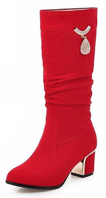 Easemax Damen Modisch Langschaft Metall Accessoire Strass Stiefel Mit Absatz Rot 35 EU cZpav