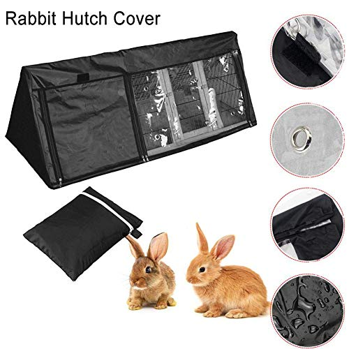 Triangle Waterproof Rabbit Hutch House Cover, with Door Windows & Ventilation Holes, Water Repellent Oxford Cloth Dustproof Protective Cover, Durable Guinea Pig Ferret House Hutch Covers