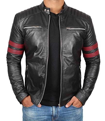 (Black Leather Motorcycle Jacket Men with Red Stripes | Hunter - 2XL)